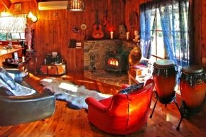 Wood fire, cozy entertainment area